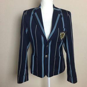 Ralph Lauren Rugby Navy Blue Striped Blazer